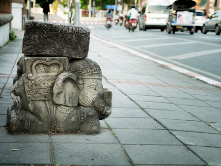 The Long Chair Warrior Elephant Statue Style beside The Road in Chiang Mai Thailand