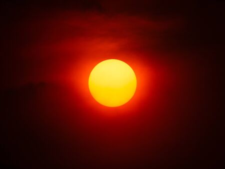 The Yellow Sun Shining in The Red Sky , in The Center of Frame