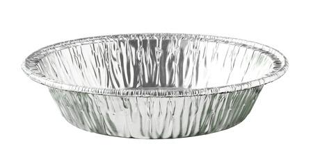 흰색 배경에 고립 된 라운드 알루미늄 호일 식품 트레이