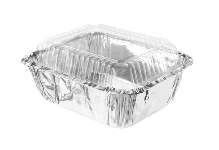 Rectangular Aluminium Foil Tray Clear Cover isolated on white background 스톡 콘텐츠