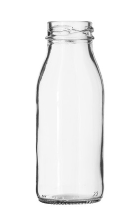 Glass Milk Bottle no Cap isolated on white background 스톡 콘텐츠