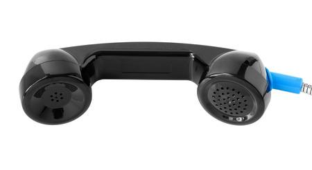 payphone: Black Telephone Handle isolated on white background Stock Photo