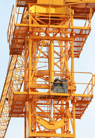 jacks: Hydraulic Jacks of Tower Crane front view Stock Photo