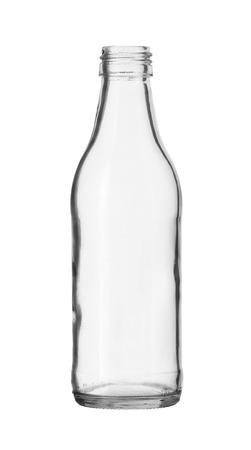 흰색 배경에 고립 된 투명 유리 병 아니 모자