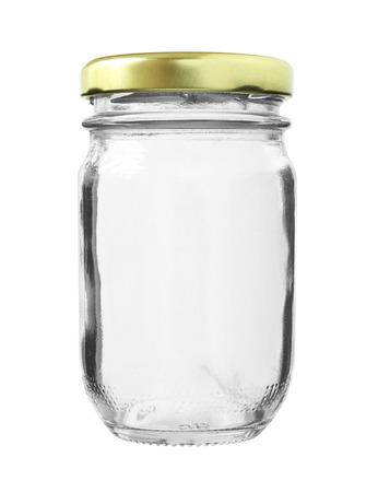 흰색 배경에 고립 된 금속 모자 유리 병
