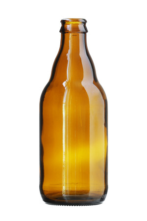 brown bottle: Short Brown Beer Bottle isolated on white background Stock Photo