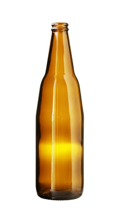 brown bottle: Empty Brown Beer Bottle isolated on white background
