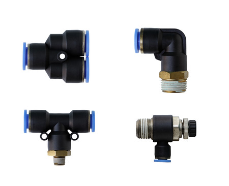 and the air: Pneumatic Fittings isolated on white background Stock Photo