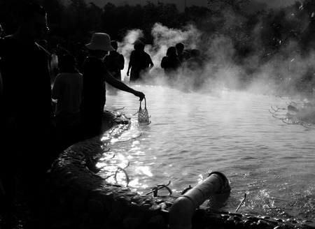 boiling: Boiling Eggs in Hot Spring Water Pool
