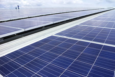 pv: Rooftop Solar PV System Stock Photo