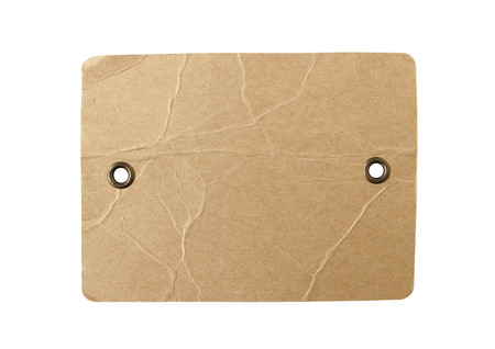 Blank Brown Paper Tag Eyelet isolated on white background