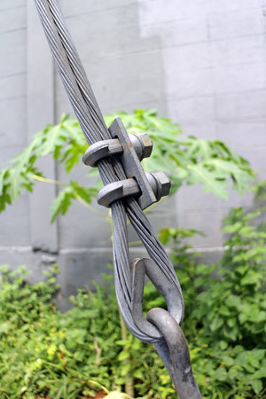 shackles: Steel Guy Wire Fittings Installation Close up Stock Photo