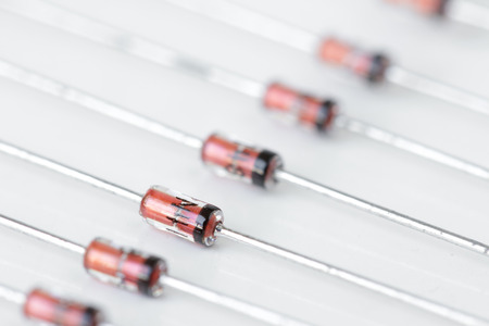 diodes: Small Electronic Diodes Macro Stock Photo