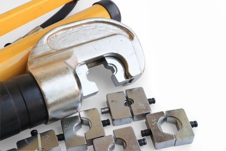crimper: Hydraulic Cable Crimping Tool Set with Space for Texts