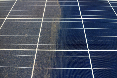 Partially Clean Photovoltaic Panels 스톡 콘텐츠