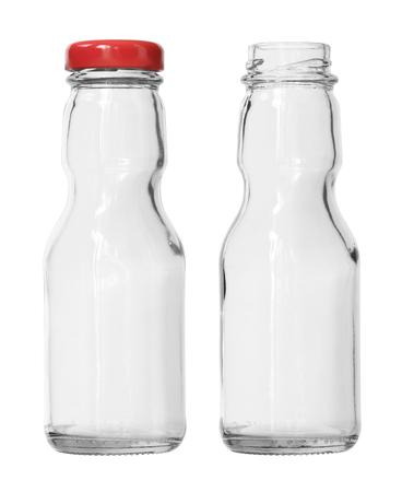 클리핑 경로 흰색 배경에 고립 된 두 개의 빈 케첩 유리 병