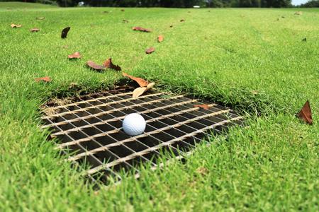 배수 화면의 골프 공