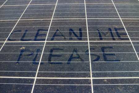 Dirty Dusty Solar Panels with Text Clean Me Please 스톡 콘텐츠