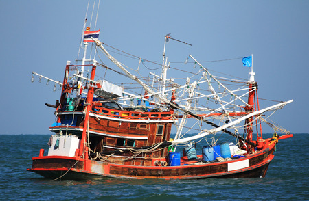 Generic Squid Fishing Boat Ship of Thailand Banco de Imagens