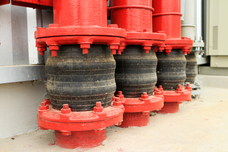 Pipe Vibration Isolator at Ground Entry 스톡 콘텐츠