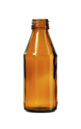 Brown Glass Bottle isolated on white background clipping paths