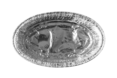Oval Foil Food Tray isolated on white background