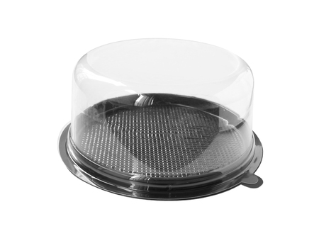 Round Cake Box Clear Cap isolated on white background clipping paths