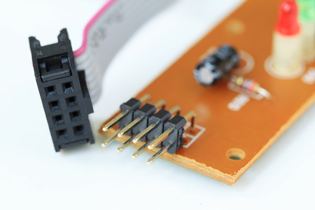 Pin type Terminals on Printed Circuit Board 스톡 콘텐츠