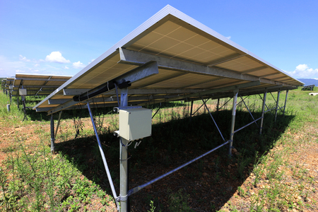 Fuse Box of Solar Farm Installed Under PV Panels 免版税图像