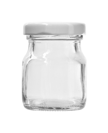 Round Shape Small Glass Canister White Cap isolated on white background Clipping Paths 스톡 콘텐츠