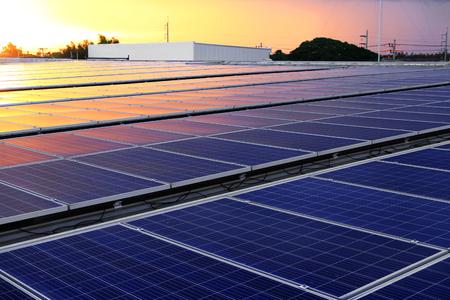 Solar PV Rooftop Beautiful Sunset Light