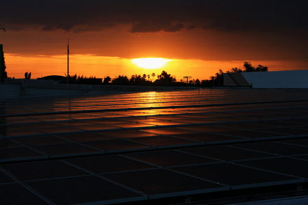 Solar PV Rooftop Sunset