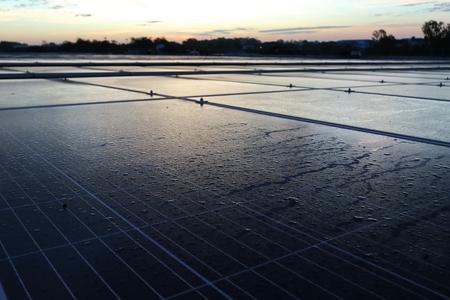 Morning Dewdrop on Solar Panel