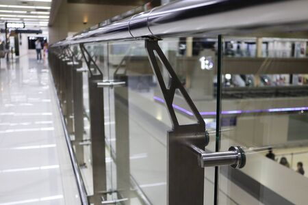 Stainless Handrail Support fixing on Glass 스톡 콘텐츠