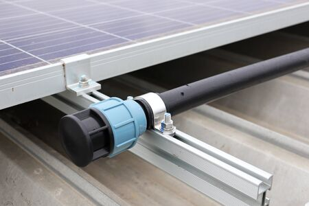 End Cap of HDPE Water Pipe for Solar Panel Cleaning 스톡 콘텐츠