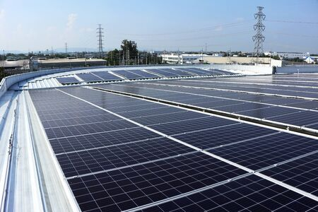 Solar PV on Industrial Round Shape Roof 스톡 콘텐츠