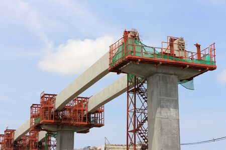 Installation of Concrete Beams for Railway of Sky Train under Alignment Process