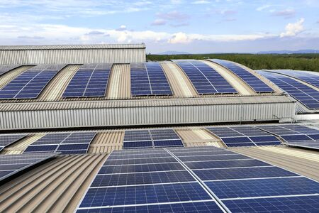 Solar PV Rooftop on Curve Roof under Beautiful Sky