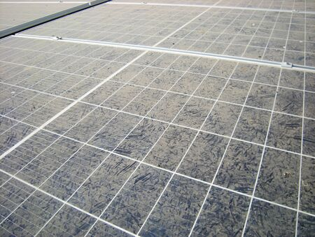 Bird Footprints on Dusty Solar Panel Surface 写真素材