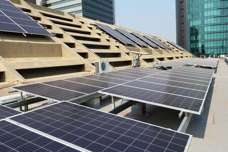Solar PV System on Concrete Roof Deck Front View 스톡 콘텐츠
