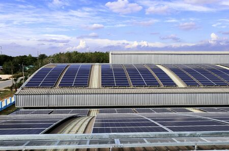 Solar PV Rooftop on Curve Roof under Beautiful Sky 스톡 콘텐츠 - 146866069