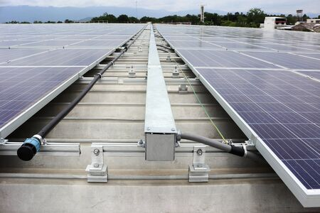 Solar PV on Industrial Roof with Facilities 免版税图像