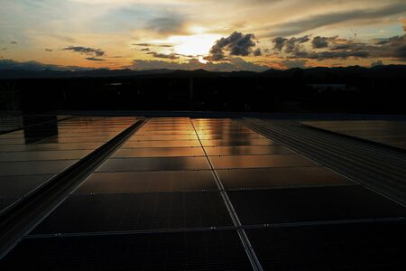 Solar PV Rooftop Beautiful Sunset Sky