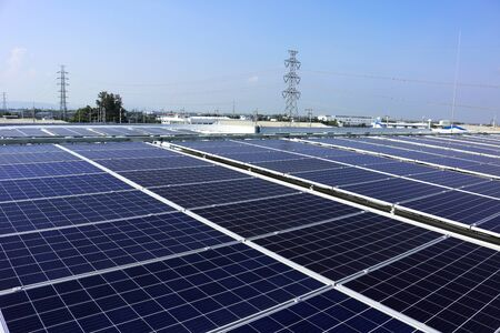 Solar PV Rooftop System HV Electric Pole Background