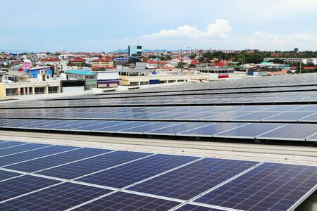 Solar PV Rooftop Colorful City Background