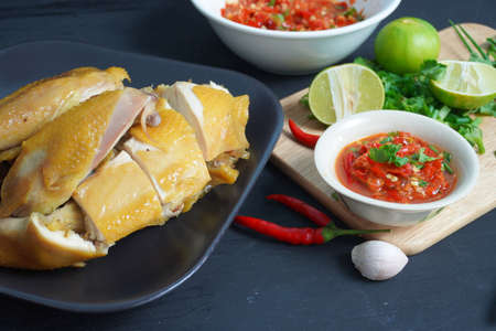 Boiled chicken with fish sauce, Thai food