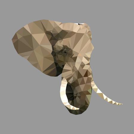 elephant head: polygonal elephant head