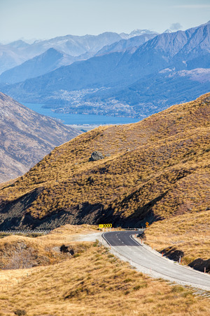 Crown range road , the highest road in New zealand photo