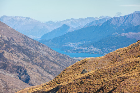 Queenstown view from the highest point of Crown Range road photo