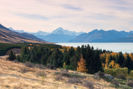 hued: Mount Cook towering over glacial Lake Pukaki in hues of turquoise.
